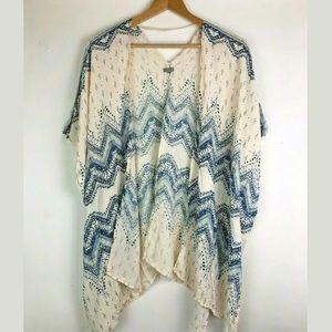 Ecote XS Shawl Wrap Kimono Boho Beige Blue
